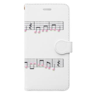 TinyMiry(タイニーミリー)の桃の楽譜 Book-style smartphone case