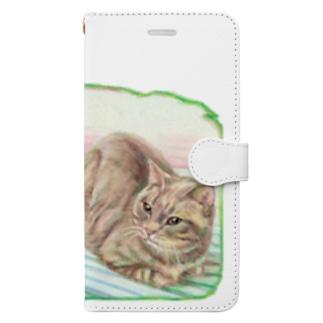 待っている…猫 Book-style smartphone case