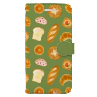 [bread] スマホケース(グリーン) Book-style smartphone case