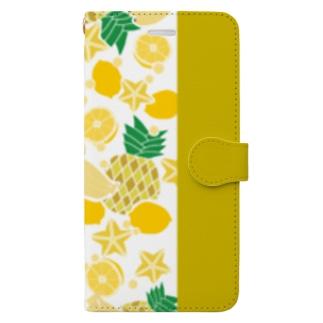 イエローのフルーツ Book-style smartphone case