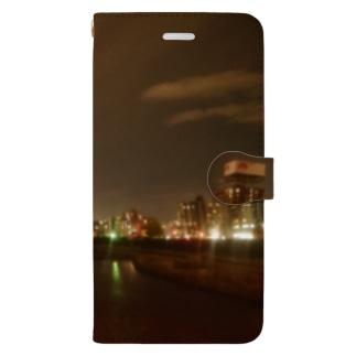 夜の街の風景 Book-style smartphone case