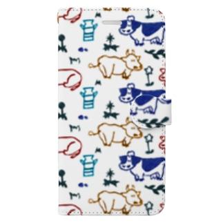 牛たちとののどかな暮らし 鮮やか Book-style smartphone case