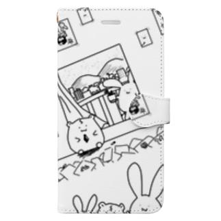 ノスタルジー鷺ハムシリーズwhiteスマホケース Book style smartphone case
