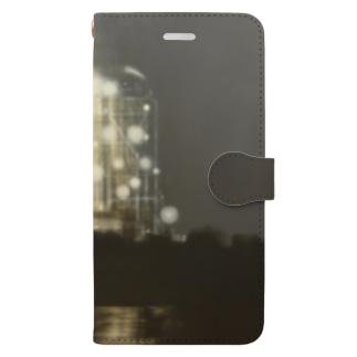 夜の工場 Book-style smartphone case