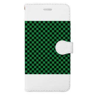 日本:市松模様緑 Book-style smartphone case