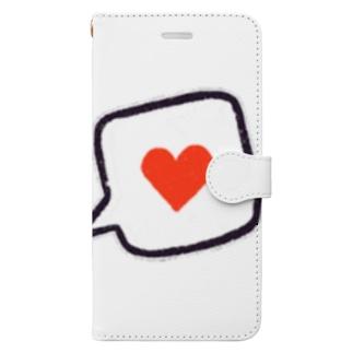 吹き出しハート Book-style smartphone case