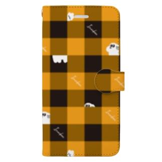 チェック柄な犬ちゃん Book-style smartphone case