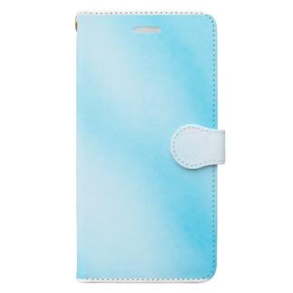 水色マーブル Book-style smartphone case