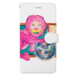 ピンクのライオン Book-style smartphone case