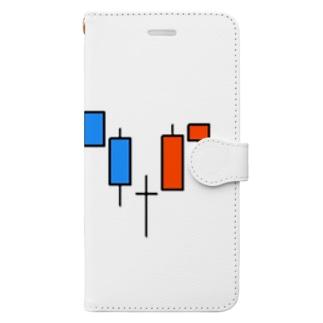 ローソク足手帳型スマホケース Book-style smartphone case