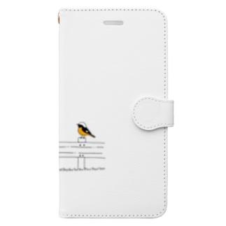 ジョウビタキのオスとメス Book-style smartphone case