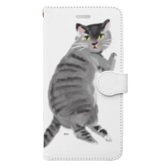 こっち見んなさばとら Book-style smartphone case