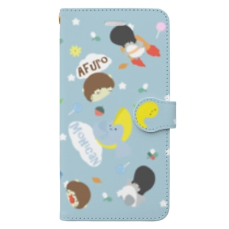 かわいい系リーゼントペンギン手帳型スマホケース青 Book-style smartphone case