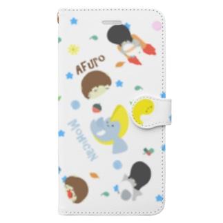 かわいい系リーゼントペンギン手帳型スマホケース白 Book-style smartphone case