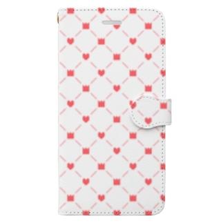 [ドット絵]王冠とハート(赤) Book-style smartphone case