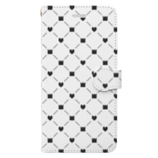 [ドット絵]王冠とハート(黒) Book-style smartphone case