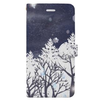 雪の輝き Book-style smartphone case