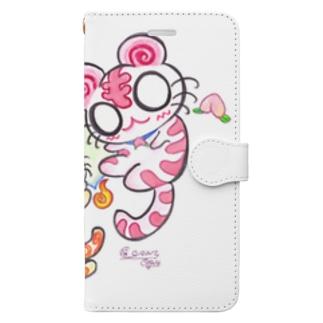 ピンク白虎ちゃん&ねこまた君 Book-style smartphone case