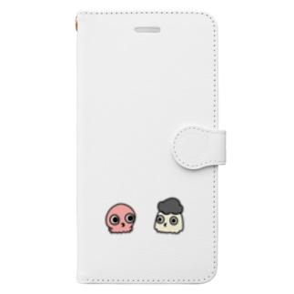 タコとアフロ頭のイカ Book-style smartphone case