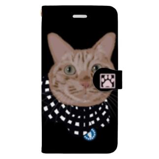 茶トラ ザビエルバージョンブラック Book-style smartphone case