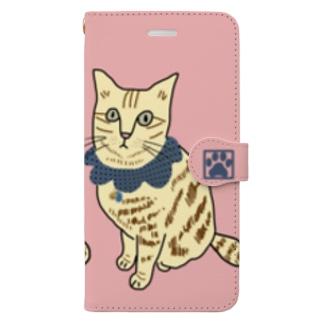 茶トラ スマホケース ピンク Book-style smartphone case