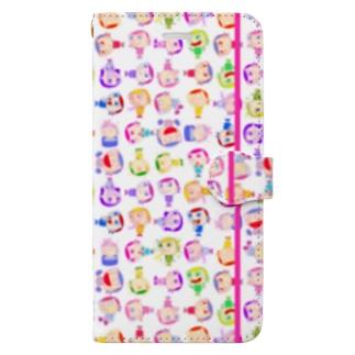 Charlieカラフル背景ホワイト Book-style smartphone case