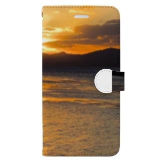 夕日と海 Book-style smartphone case