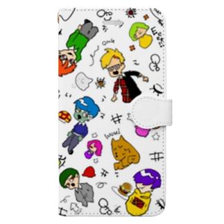 ゾンビくんと人間(カラー) Book-style smartphone case
