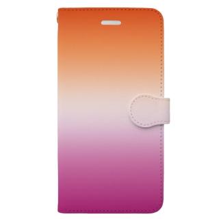 グラデーション プライドフラッグ レズビアン Book-style smartphone case