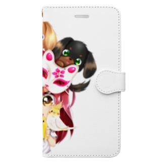 ハッピーアニマル(初期限定デザイン キャバリア・インコ・犬・鳥) Book-Style Smartphone Case