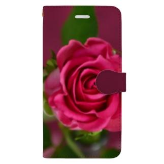バラ 赤3 Book-style smartphone case