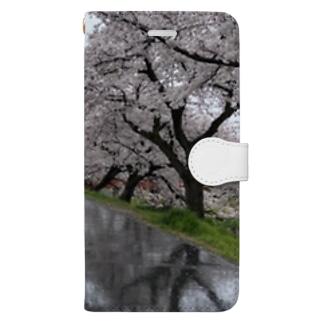 桜と踏切のウユニ塩湖風 Book-style smartphone case