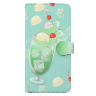 クリームソーダとまるまるつるっとしたうさぎ ブルー Book-style smartphone case