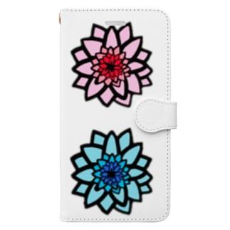 ブルー&ピンク Book-style smartphone case