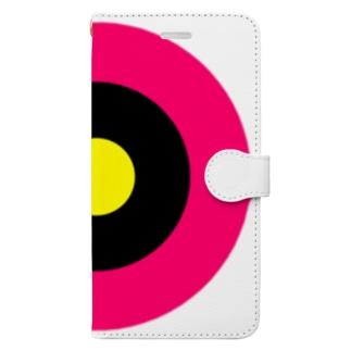 サークルa・ショッキングピンク・黒・黄 Book-style smartphone case