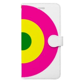 サークルa・ショッキングピンク2・黄・緑 Book-style smartphone case