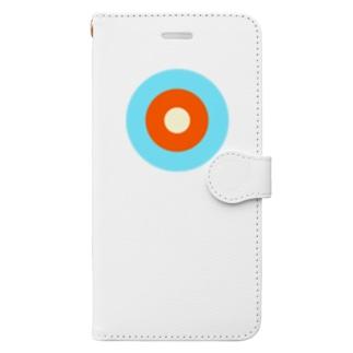 サークルa・水色3・オレンジ・クリーム Book-style smartphone case