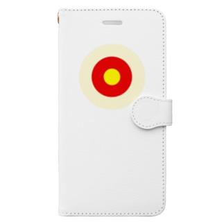 サークルa・クリーム・赤・黄 Book-style smartphone case