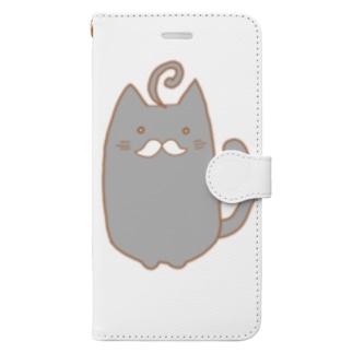 ひげねこ。(黒) Book-style smartphone case