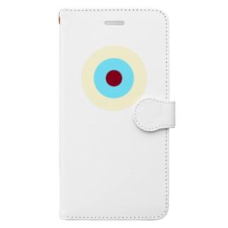 サークルa・クリーム・水色3・チョコ Book-style smartphone case