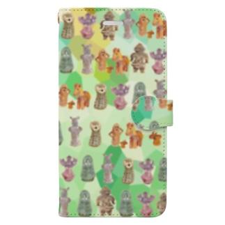 埴輪と土偶と銅鐸たくさん(緑) Book-Style Smartphone Case