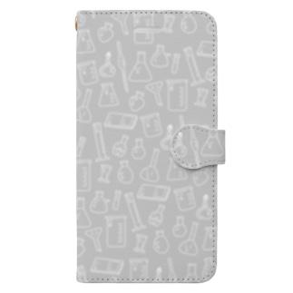 ビーカーくんたちグレー×白 Book-style smartphone case