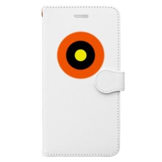 サークルa・オレンジ・黒・黄 Book-style smartphone case