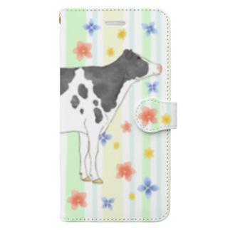 水彩うし2手帳型ケース Book-style smartphone case