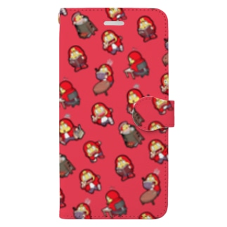 手帳型スマホケース レッド Book-style smartphone case