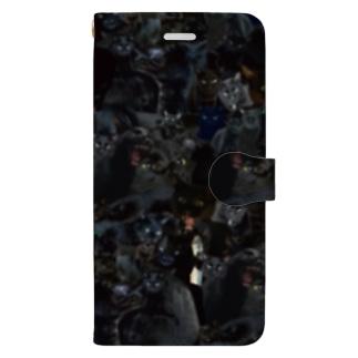 黒猫総柄 Book-style smartphone case