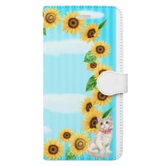 ひまわりリースと猫 Book-style smartphone case