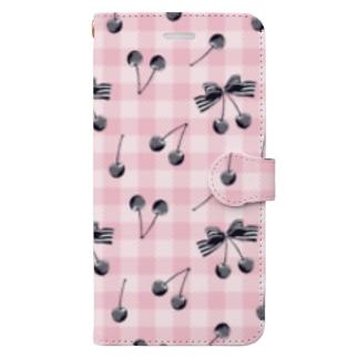 さくらんぼピンクチェック Book-style smartphone case