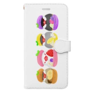 マカロン文鳥ず 縦長 Book-style smartphone case