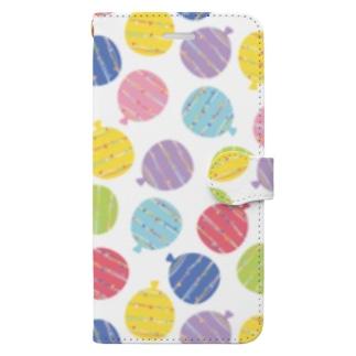 水風船の柄ケース パステル Book-style smartphone case